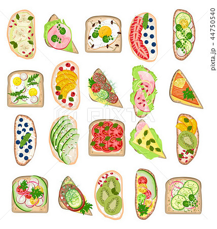 Toast vector healthy toasted food with bread cheese vegetables egg snack for breakfast illustration 44750540