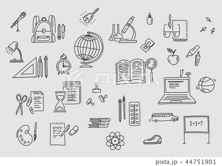 Hand drawn vector doodle school icons and symbols. 44751901