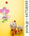 年賀状 猪 親子のイラスト 44758099
