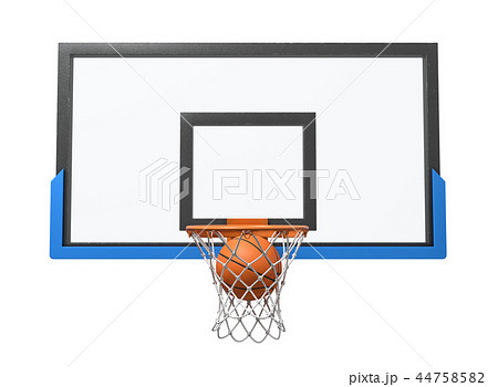 3d rendering of a basketball ball falling inside a basket attached to a transparent backboard. 44758582
