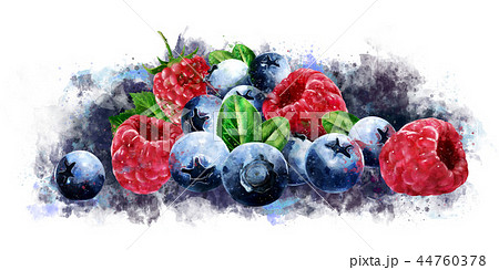 Raspberries, cranberries and blueberries on white background. Watercolor illustration 44760378