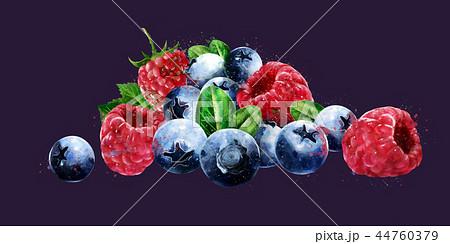 Raspberries, cranberries and blueberries on dark background. Watercolor illustration 44760379