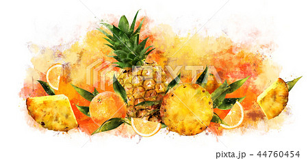 Pineapple on white background. Watercolor illustration 44760454