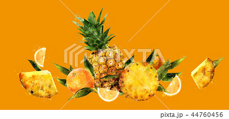 Pineapple on orange background. Watercolor illustration 44760456