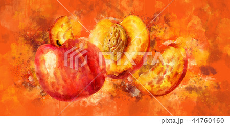Peach on orange background. Watercolor illustration 44760460