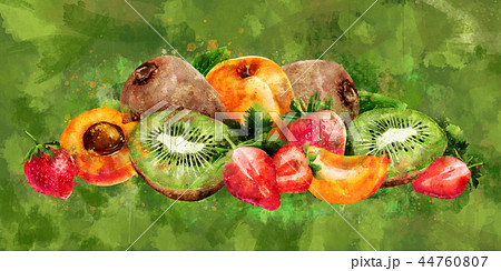 Apricot, strawberry and kiwi on green background. Watercolor illustration 44760807