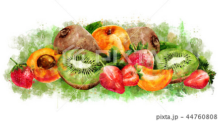Apricot, strawberry and kiwi on white background. Watercolor illustration 44760808