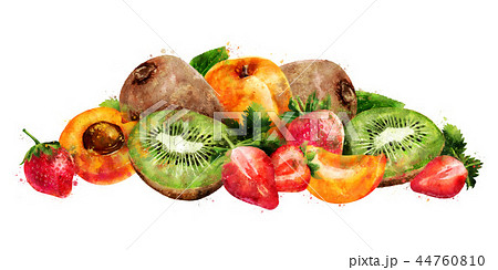 Apricot, strawberry and kiwi on white background. Watercolor illustration 44760810