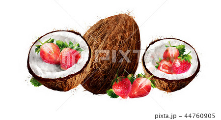 Watercolor coconut and strawberry on white background 44760905
