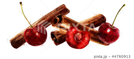 Watercolor cinnamon and cherry on white background 44760913