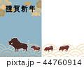 年賀用フォトフレーム 亥年-紋付-謹賀新年 44760914