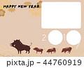 年賀用フォトフレーム-3コマ・紋付-happy new year 44760919