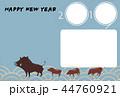 年賀用フォトフレーム-3コマ・シンプル-happy new year 44760921