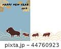 年賀用フォトフレーム-紋付-happy new year 44760923