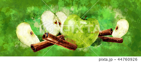 Watercolor cinnamon and green apples on green background 44760926