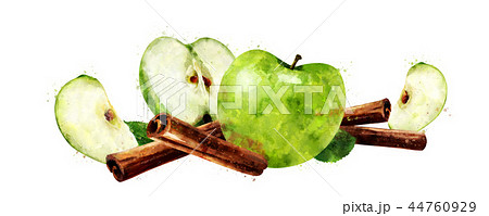 Watercolor cinnamon and green apples on white background 44760929