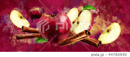 Watercolor cinnamon and red apples on red background 44760930