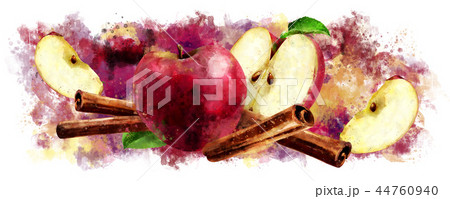 Watercolor cinnamon and red apples on white background 44760940