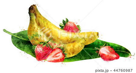 Banana and strawberry on white background. Watercolor illustration 44760987