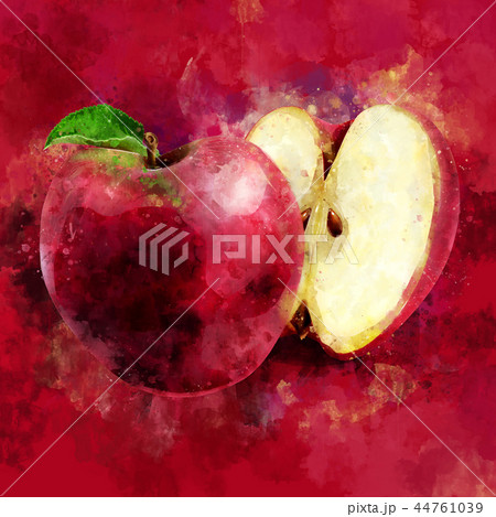 Red Apple on dark red background. Watercolor illustration 44761039