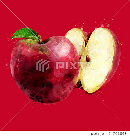Red Apple on dark red background. Watercolor illustration 44761043