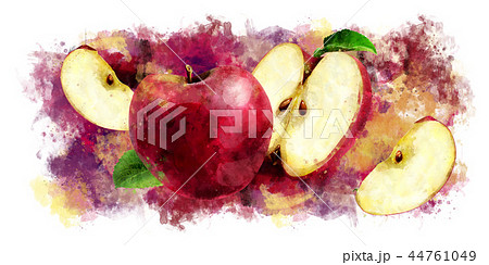 Red Apple on white background. Watercolor illustration 44761049
