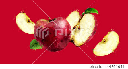 Red Apple on dark red background. Watercolor illustration 44761051