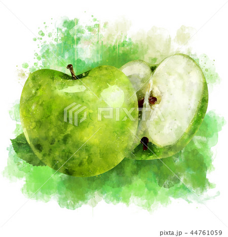 Green Apple on white background. Watercolor illustration 44761059