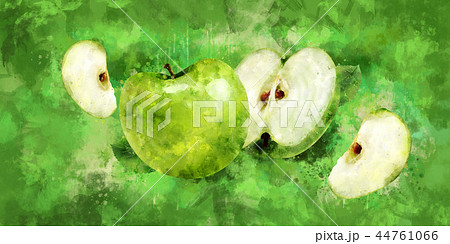 Green Apple on green background. Watercolor illustration 44761066
