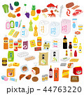 スーパーマーケットの商品分類イラストセット 44763220