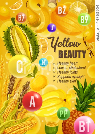 Beauty yellow diet nutrition, vitamins food 44763954