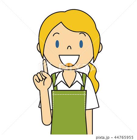 44765955 二頭身 外国人 緑色のエプロンの女性 人差し指をさす 保母さん 主婦 料理 カフェ店員 お花屋さん