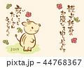 年賀状 猪 亥年のイラスト 44768367