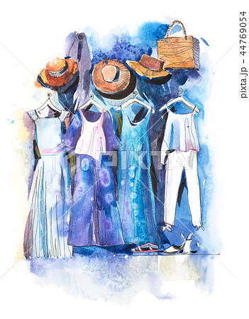 Shopping mall store clothes exhibition clothing display garment rack watercolor 44769054