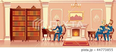 Vector cartoon living room with gentlemen company 44773855