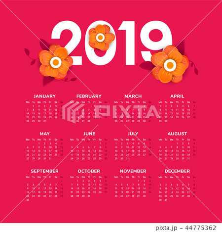 Vector of 2019 new year calendar with flowers 44775362