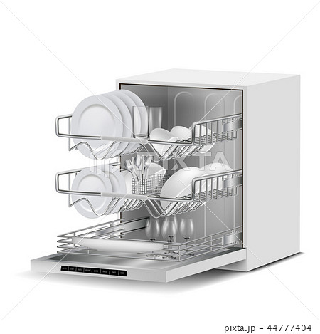 realistic dishwasher machine with dishes 44777404