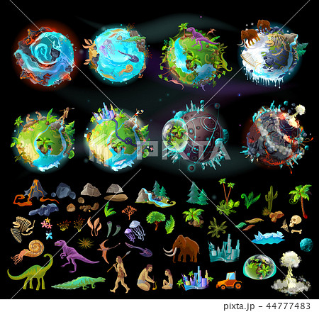 Set of planets and elements for game design 44777483