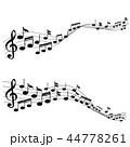 Music Notes with G-clef on Line Wave Background 44778261