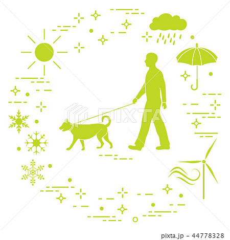 Man walking a dog on a leash in any weather 44778328