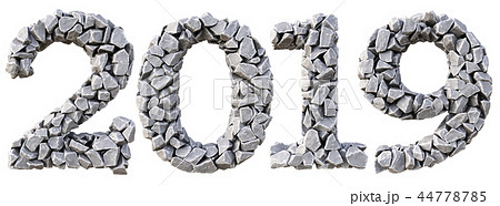 Number 2019 from the stones. isolated on white background. 3D illustration 44778785
