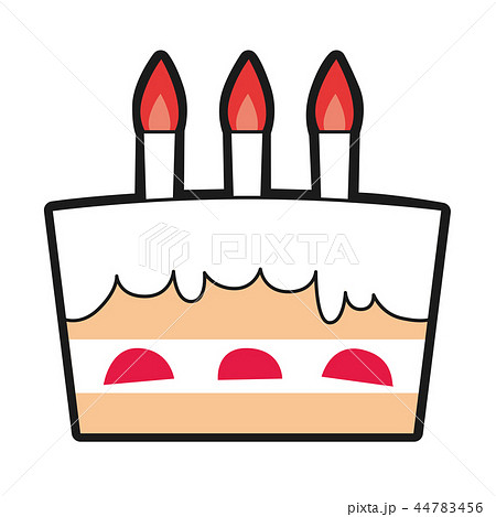 ケーキのイラスト 誕生日を祝う為のケーキにロウソクを灯して のイラスト素材