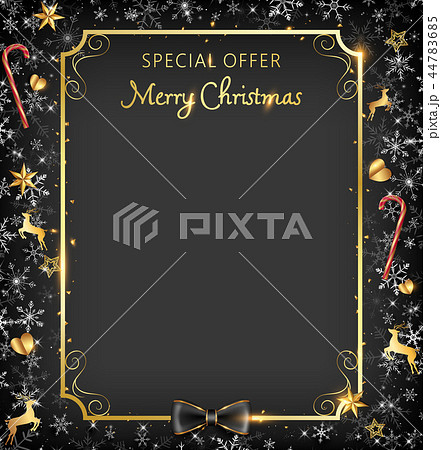Black Christmas frame with golden border 44783685