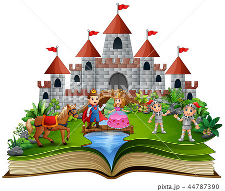 Story book with cartoon princesses and princes in  44787390