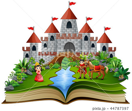 Story book with cartoon princesses and princes in  44787397