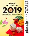 年賀状 猪 親子のイラスト 44787812