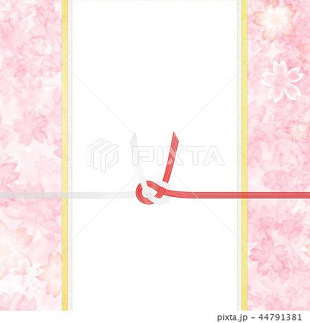 和-和風-和柄-背景-和紙-春-桜-ピンク-水引-のし 44791381