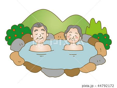医療イラスト:温泉/高齢者夫婦 44792172