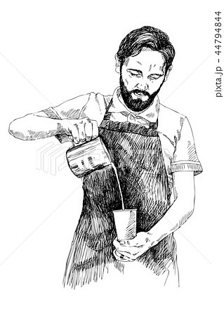 Young Barista Man Vector Illustration In Pencil Style High Details