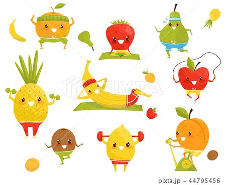 Funny fruits doing sports, sportive strawberry, pineapple, kiwi, banana, apple, orange, pear, kiwi 44795456